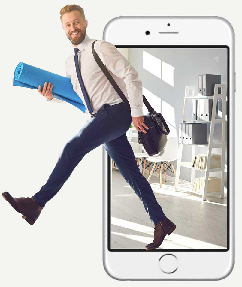 Man with yoga-mat and iPhone